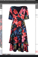 Maison Tara  91071M  Floral Illusion Wrap Midi Dress - Jazmine & Yazmine Designer Boutique