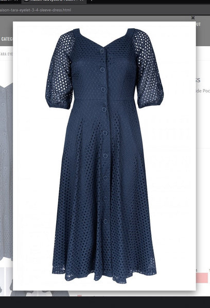 Maison Tara  95055M   Eyelet 3/4 Sleeve Dress - Jazmine & Yazmine Designer Boutique