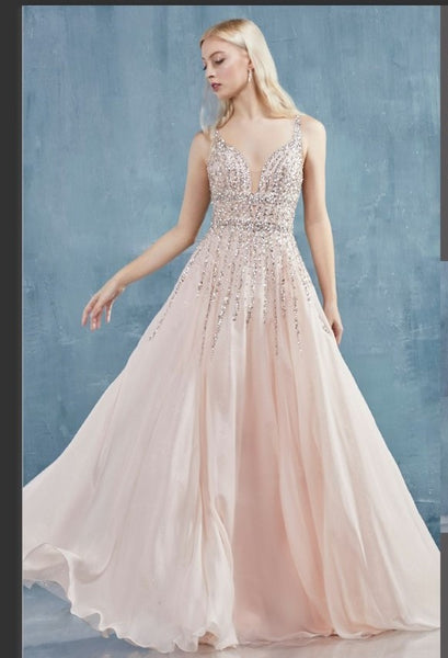 Andrea & Leo Couture A0870 Sara Gown Trickle Beaded Chiffon A-Line Gown