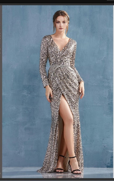 Andrea & Leo Couture A0938B Karina Gown Leopard Long Sleeved Ruched Sequined Sheath