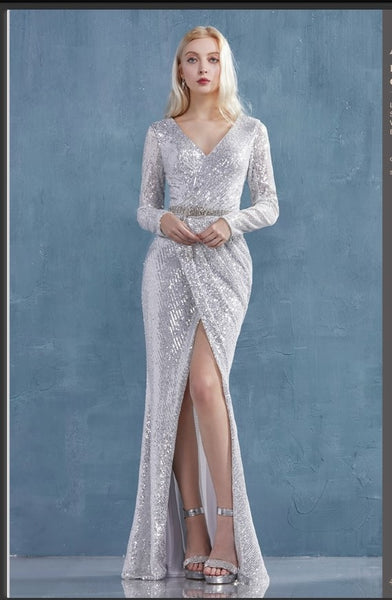 Andrea & Leo Couture A0938 Lydia Gown Long Sleeved Ruched Sequined Sheath