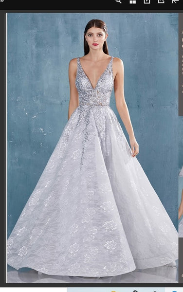 Andrea & Leo Couture A0964 V-Neck Ballgown With Crisscross Back