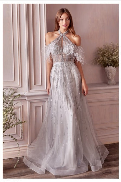 Andrea & Leo Couture A1023 Anastasia Feather Gown Swathed In Crystals And Silver Beads