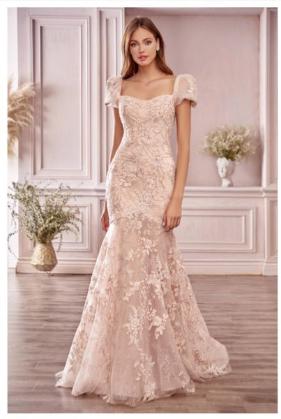 Andrea & Leo Couture A1025 Blume Floral Mermaid Gown In Soft Blushing Floral Embroidery Lace