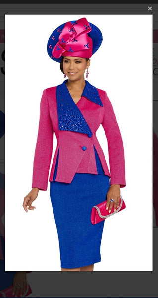 Donna Vinci 13268 2PC Jacket/Skirt Suit Exclusive Knitted Lurex Yar