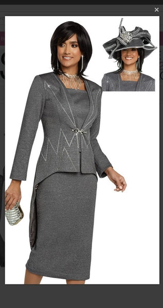 Donna Vinci 13272 2PC Jacket/Skirt Suit Exclusive Knitted Lurex Yarn - Jazmine & Yazmine Designer Boutique