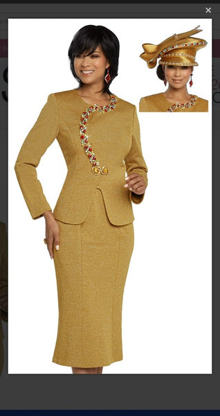 Donna Vinci 13276 2PC Jacket/Skirt Exclusive Knitted Lurex Yarn - Jazmine & Yazmine Designer Boutique