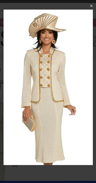 Donna Vinci 13277  2PC Jacket/Skirt Exclusive Knitted Lurex Yarn - Jazmine & Yazmine Designer Boutique