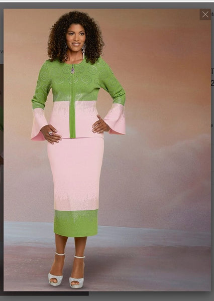 Donna Vinci KNITS Style 13298,PINK/LIME, 2 Pc. Jacket & Skirt Set