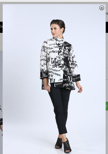 IC Collection 2359J Asymmetric Jacket With Creative Writing Fabric