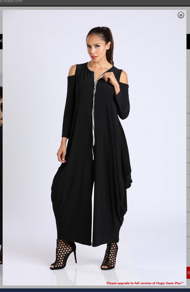 IC Collection 8419JS Cold Shoulder Jumpsuit Ultra Chic Front Zip Up Style - Jazmine & Yazmine Designer Boutique
