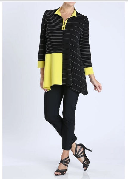 IC Collection 3846T 1PC Long Sleeves. Stripe Contrast Zipper Tunic