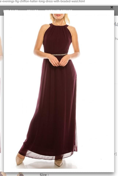 Ignite Evenings 111087 Fig Chiffon Halter Long Dress with Beaded Waist