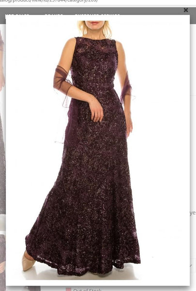 Ignite  Evenings IG119103 Plum Glittered Floral Appliqued Long Evening Gown