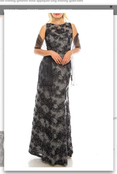 Ignite  Evenings IG119103 Slate Blue Glittered Floral Appliqued Long Evening Gown