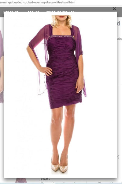 Ignite Evenings 2332  Plum Beaded Ruched Evening Dress with Shawl