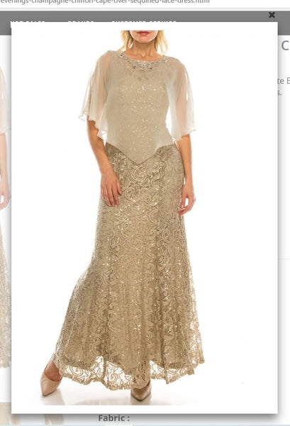 Ignite  Evenings 3523  Champagne Chiffon Cape Over Sequined Lace Dress