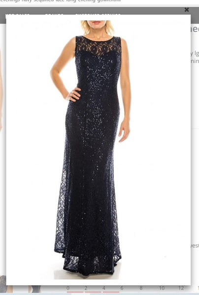 Ignite  Evenings 3802R  Navy Sequined Lace Long Evening Gown