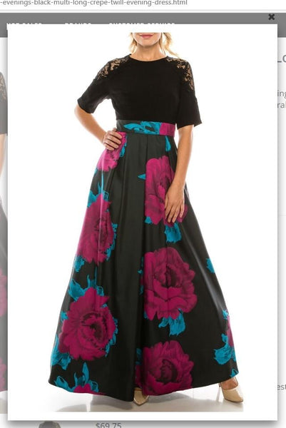 Ignite Evenings IG3874 Black Multi Long Crepe & Twill Evening Dress