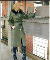 Just Vinci 16001 1PC Coat With Leatherette Fabric - Jazmine & Yazmine Designer Boutique