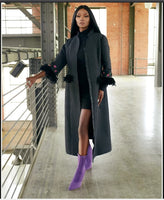Just Vinci 16005  1PC Coat Dress Trimmed With Feathers And Large Rhinestones - Jazmine & Yazmine Designer Boutique