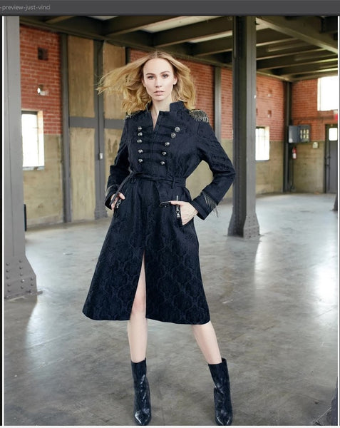 Just Vinci 16010 1pc Novelty Fabric Coat Dress With Stand Up Collar - Jazmine & Yazmine Designer Boutique
