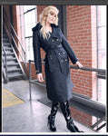 Just Vinci 16011 1pc Double Breast Coat With Leatherette Trim - Jazmine & Yazmine Designer Boutique