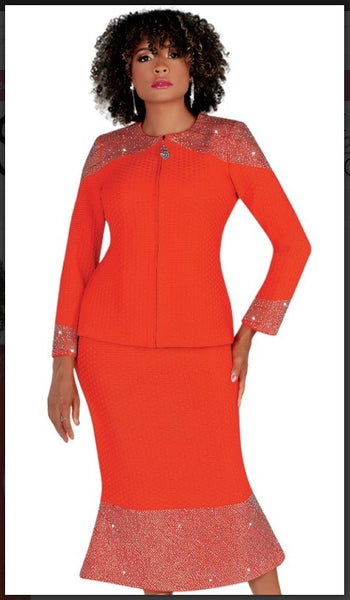 Liorah 7236 2pc Exclusive Knit Skirt Suit With Rhinestone Accents