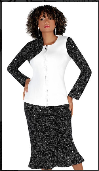Liorah 7253 2pc Exclusive Knit Sunday Suit With Rhinestone Sleeve And Skirt
