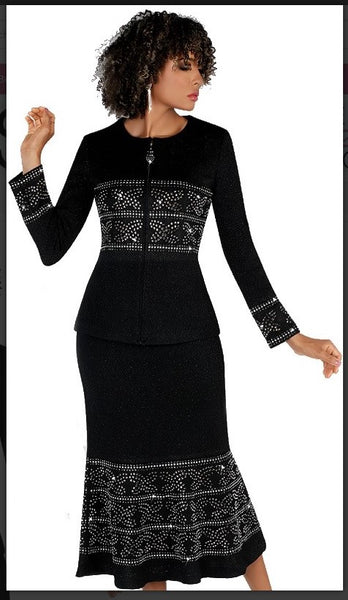 Liorah 7257 2pc Exclusive Knit Skirt Suit With Beautiful Rhinestone Design
