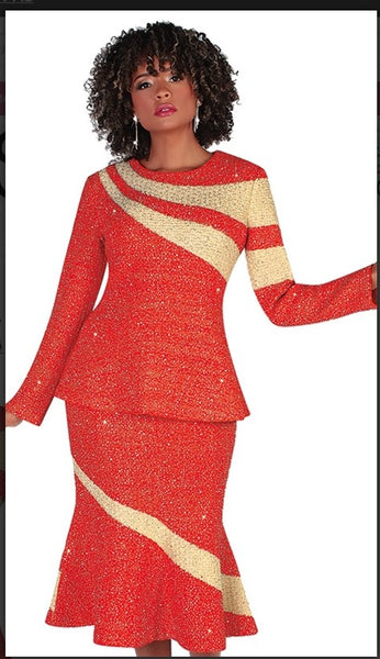 Liorah 7258 2pc Exclusive Knit Skirt Suit With Beautiful Rhinestone Wave Design