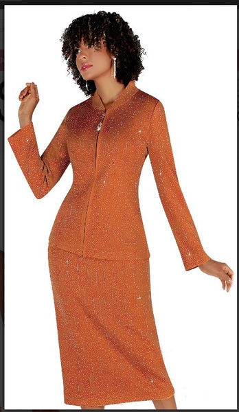 Liorah 7259 2pc Exclusive Knit Skirt Suit With Rhinestone Patterning