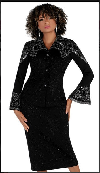 Liorah 7260 2pc Exclusive Knit Skirt Suit With Shoulder Rhinestone Design