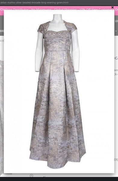 Aidan Mattox MD1E202411  Silver Beaded Brocade Long Evening Gown