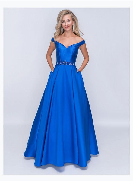 Nina Canacci 1418-1 Off The Shoulder Ballgown With Back Zipper In Mikado Fabric