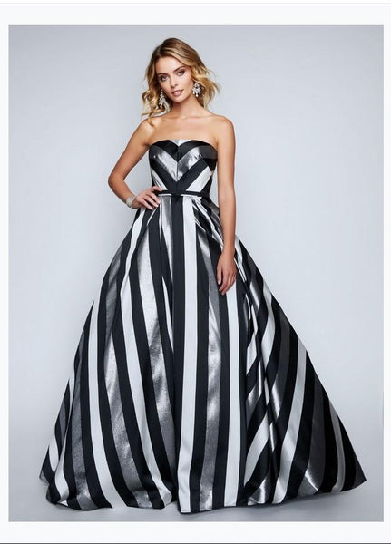 Nina Canacci 1457 Strapless Striped Evening Gown