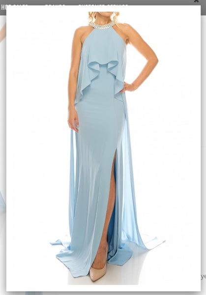 Odrella 1088 Blue Halter Evening Gown with Court Train