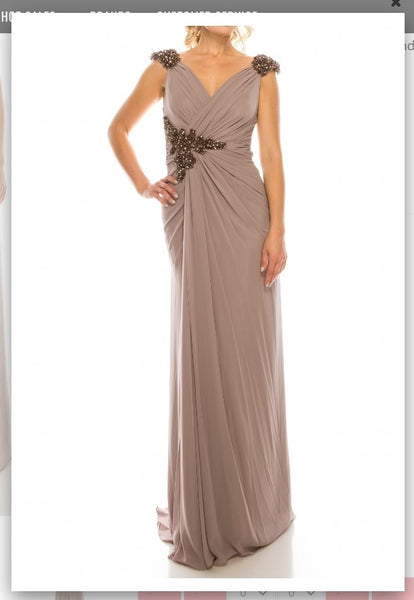 Odrella 1301 Stone Draped & Beaded Long Sheath Evening Dress