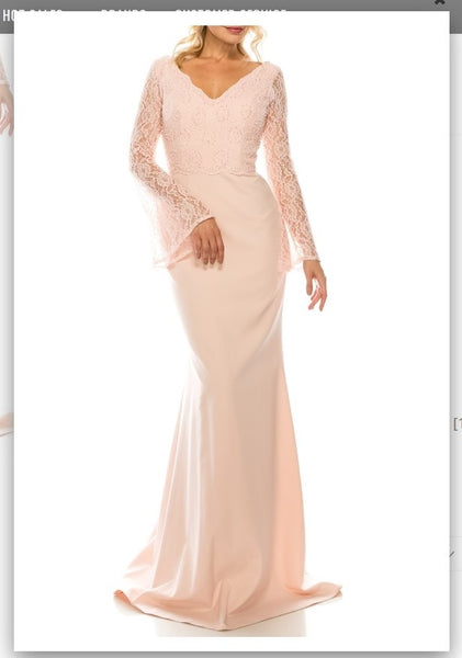 Odrella 4619B Pink Beaded Lace & Crepe Sheath Evening Gown