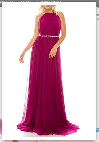 Odrella 4744 Magenta Rhinestoned Halter Evening Gown