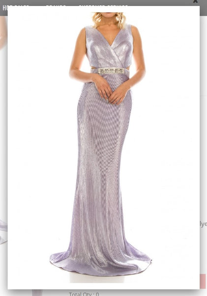 Odrella 4763 Lilac Sleeveless Surplice Sheath Evening Gown