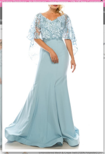 Odrella 7Y1037  Blue Trumpet Evening Gown with Embroidered Mesh Cape