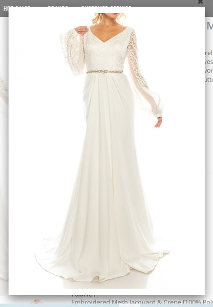 Odrella  7Y1090 Ivory Embroidered Mesh Jacquard & Crepe Evening Gown