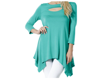 Women's Sexy Peep Front Long Sleeve Blouse Made in USA - Jazmine & Yazmine Designer Boutique