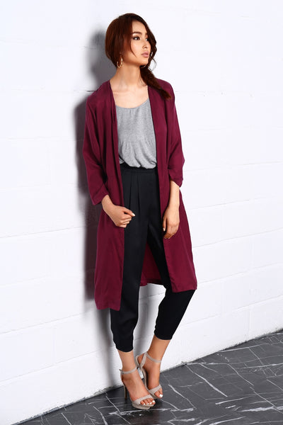 Night Dance Long Coat In Red - Jazmine & Yazmine Designer Boutique