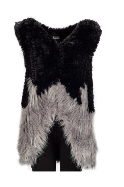 Sioni Two Toned Faux Fur Vest Jacket 10487 051 - Jazmine & Yazmine Designer Boutique