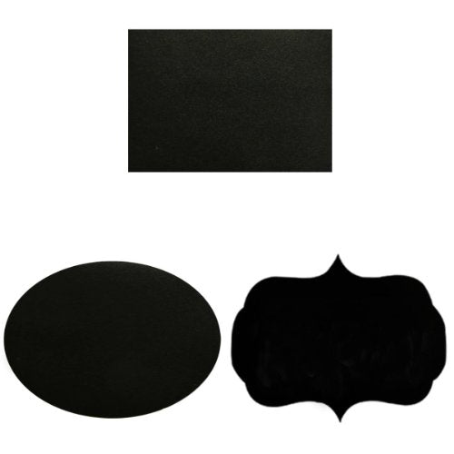 "Wrapables Set of 36 Chalkboard Labels / Chalkboard Stickers- 3.5"" x 2.5"" Oval, Rectangle, and Fancy Frame"