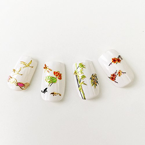 Wrapables Nail Art Nail Stickers - Asian Inspired Cherry Blossons (set of 6)