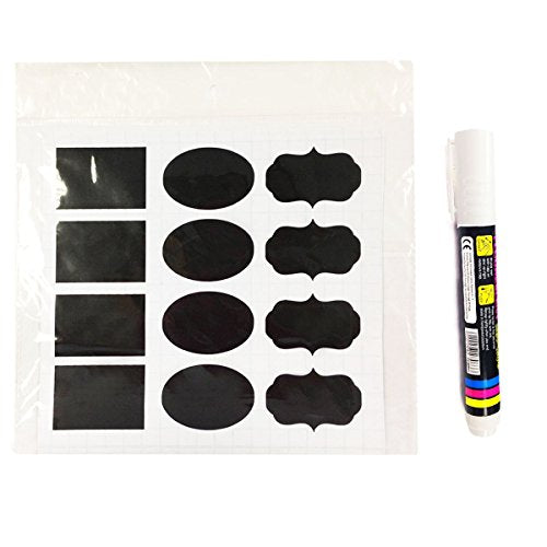 "Wrapables Set of 30 Chalkboard Labels / Chalkboard Stickers With Chalk Marker, 2"" x 1.25"" Oval, Rectangle, and Fancy Frame"