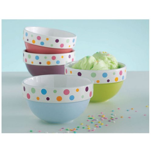 Polka Dot Ice Cream Bowls (set of 4)